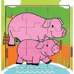 Holz-Puzzle Schwein