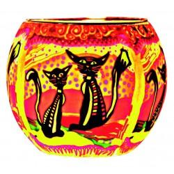 Leuchtglas Zwei Katzen