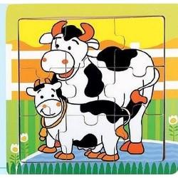 Holz-Puzzle Kühe